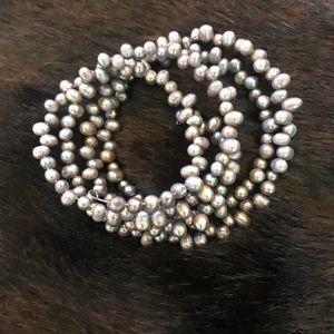 Jewelry - Freshwater pearl wrap bracelet -l.grey BEAUTIFUL!!